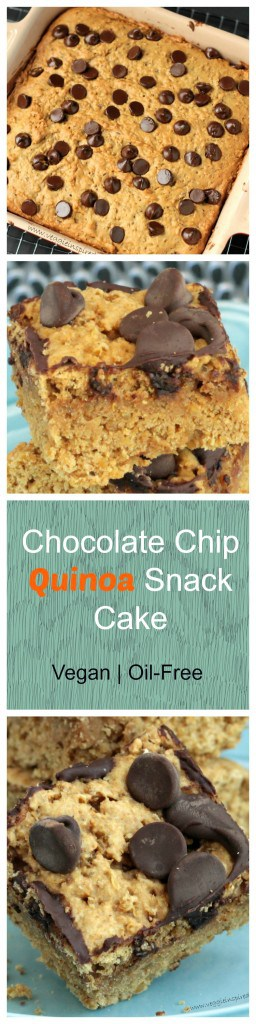 Chocolate Chip Quinoa Cake - high in protein and slightly sweet, this quinoa cake is healthy enough for breakfast, but you'll enjoy it as dessert or a snack just as much!