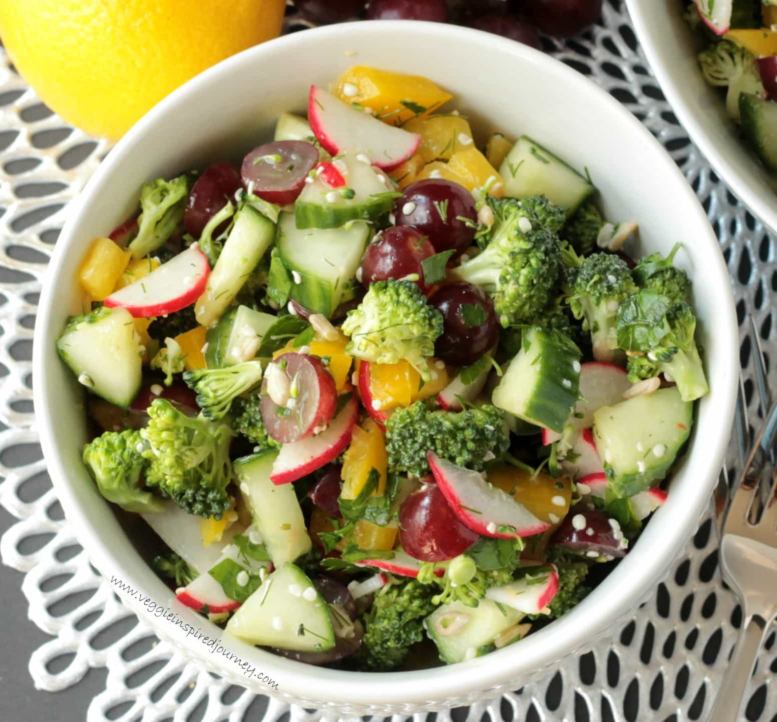raw veggie chopped salad (oil free) ~ veggie inspired