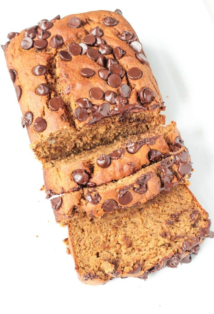 Load of Peanut Butter Banana Bread w/ Chocolate Chips...half of the bread sliced