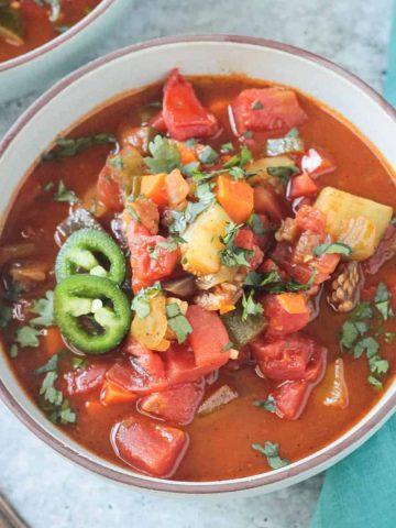 Bowl of vegetable beanless chili.