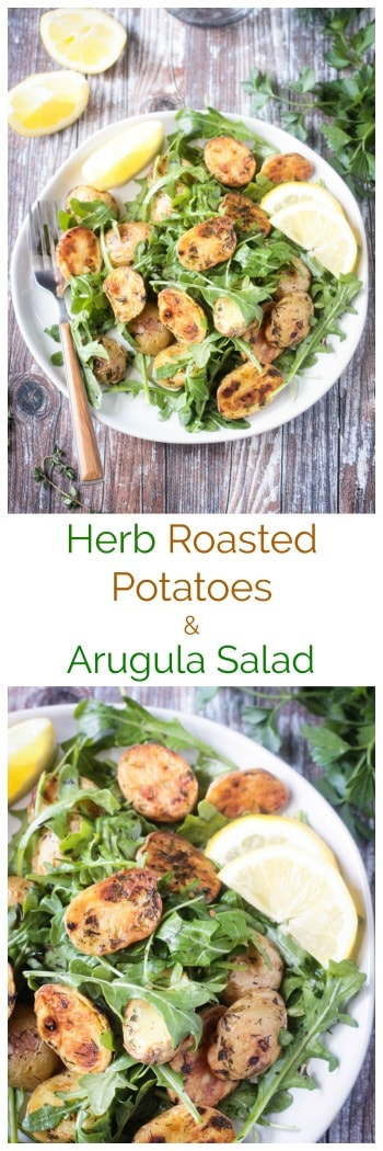 Herb Roasted Potatoes and Arugula Salad - quick and easy with simple fresh ingredients, this salad is light and herby and full of flavor! It makes the perfect side at dinnertime or a wonderful main dish for a light lunch. Especially delicious with fresh from the garden herbs! #vegan #glutenfree #arugula #potatosalad #roastedpotatoes #salad #summer #quickandeasy