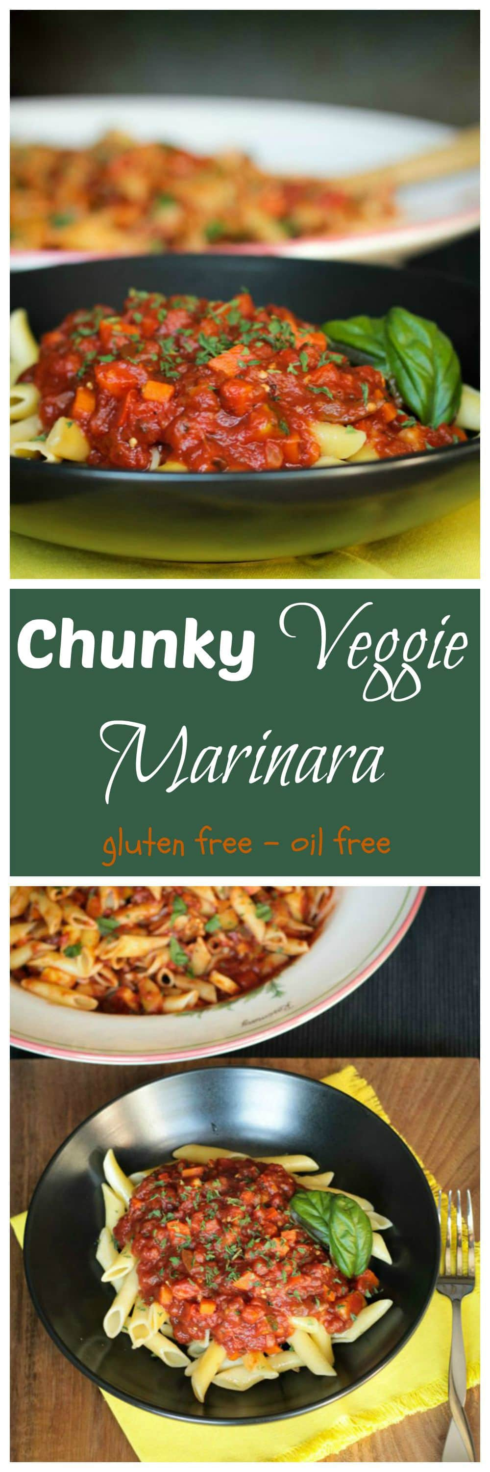 Chunky Veggie Marinara - an easy marinara sauce loaded with chopped summer vegetables. Kids and adults alike gobble this up! Serve it over noodles, rice, baked potato, etc. Yum!! #vegan #vegetarian #marinara #pastasauce #healthy #glutenfree #pasta #meatless #zucchini #eggplant #peppers