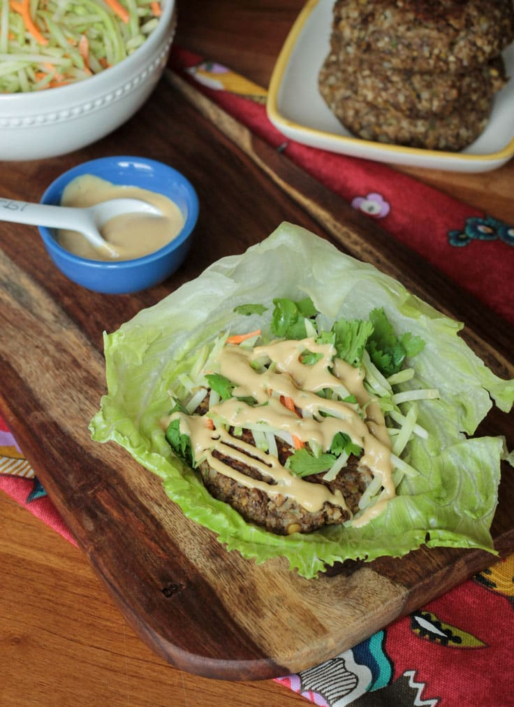 Asian Lentil Burger Lettuce Wraps