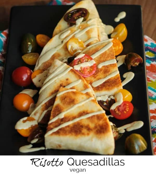 Southwest Pumpkin Risotto Quesadillas - it's a mashup of multiple cuisines and it works deliciously! Using leftover dairy free risotto, these vegan quesadillas come together in just 15 minutes! Kid approved! #vegan #quesadillas #dairyfree