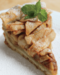 slice of apple pie garnished with mint