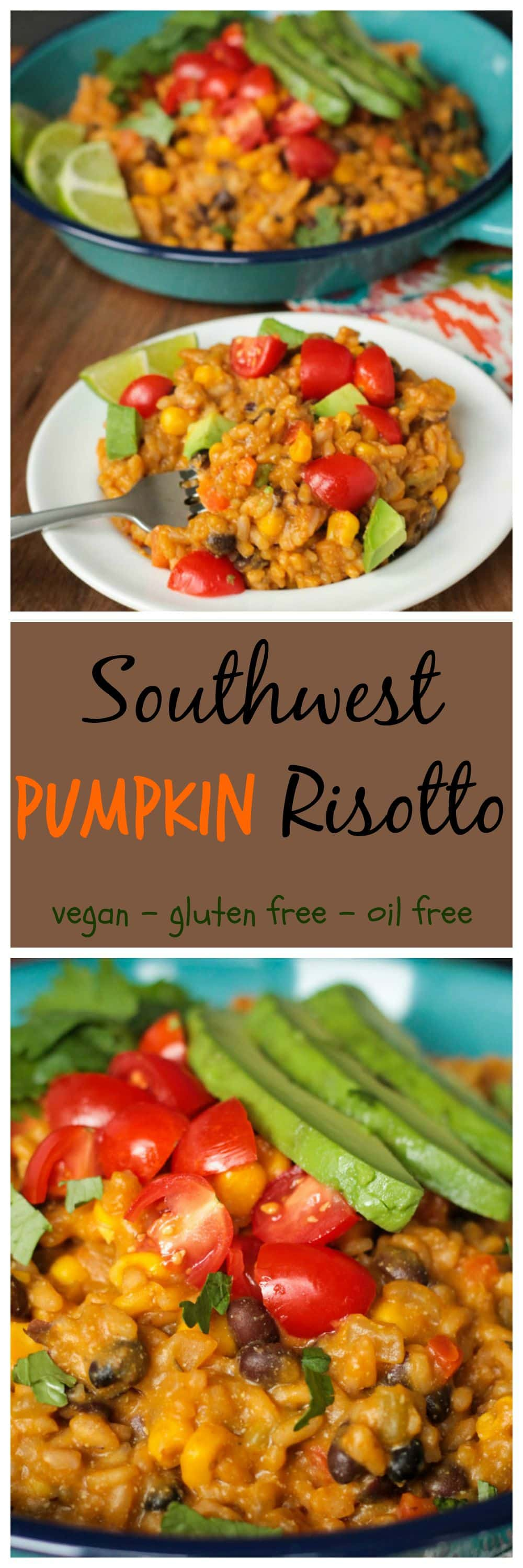 Southwest Pumpkin Risotto - super creamy, yet completely dairy free, this Tex Mex spin on risotto is sure to be a family favorite. Vegan & Gluten free.