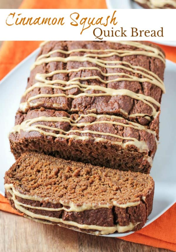 Cinnamon Squash Bread - A fall inspired quick bread packed with creamy butternut squash and warming spices, like cinnamon, ginger, and nutmeg. Enjoy a slice for breakfast, dessert or an afternoon snack. Vegan, oil free, and refined sugar free. #vegan #bread #quickbread #butternutsquash #wintersquash #dairyfree #oilfree #thanksgiving #fall #autumn