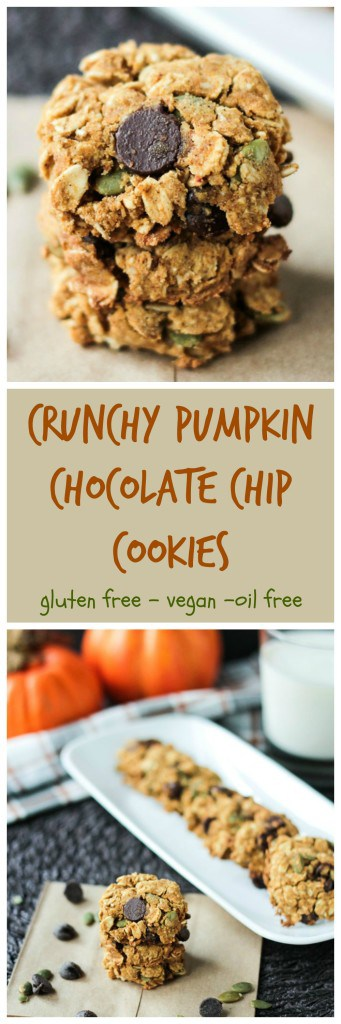 Crunchy Gluten Free Pumpkin Chocolate Chip Cookies - these healthy cookies are addictive! Super crunchy, filled with nutritious ingredients and fall flavors, I dare you to eat just one! #vegan #dairyfree #cookies #glutenfree #oilfree #pumpkin #chocolatechip