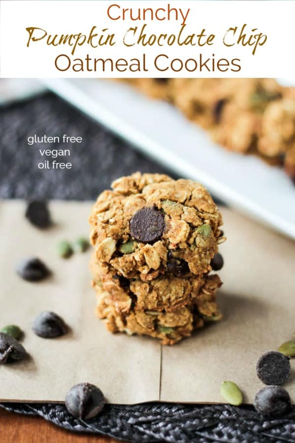 Crunchy Gluten Free Pumpkin Oatmeal Chocolate Chip Cookies - these healthy, oil free, vegan cookies are addictive! Super crunchy & filled with nutritious ingredients and fall flavors. Eat them for dessert, snack, or even breakfast! I dare you to eat just one! #vegan #dairyfree #cookies #glutenfree #oilfree #pumpkin #chocolatechip #fall #autumn #dessert
