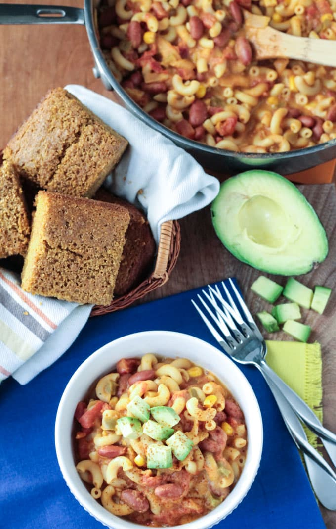 Easy Cheesy Chili Mac ~ Veggie Inspired