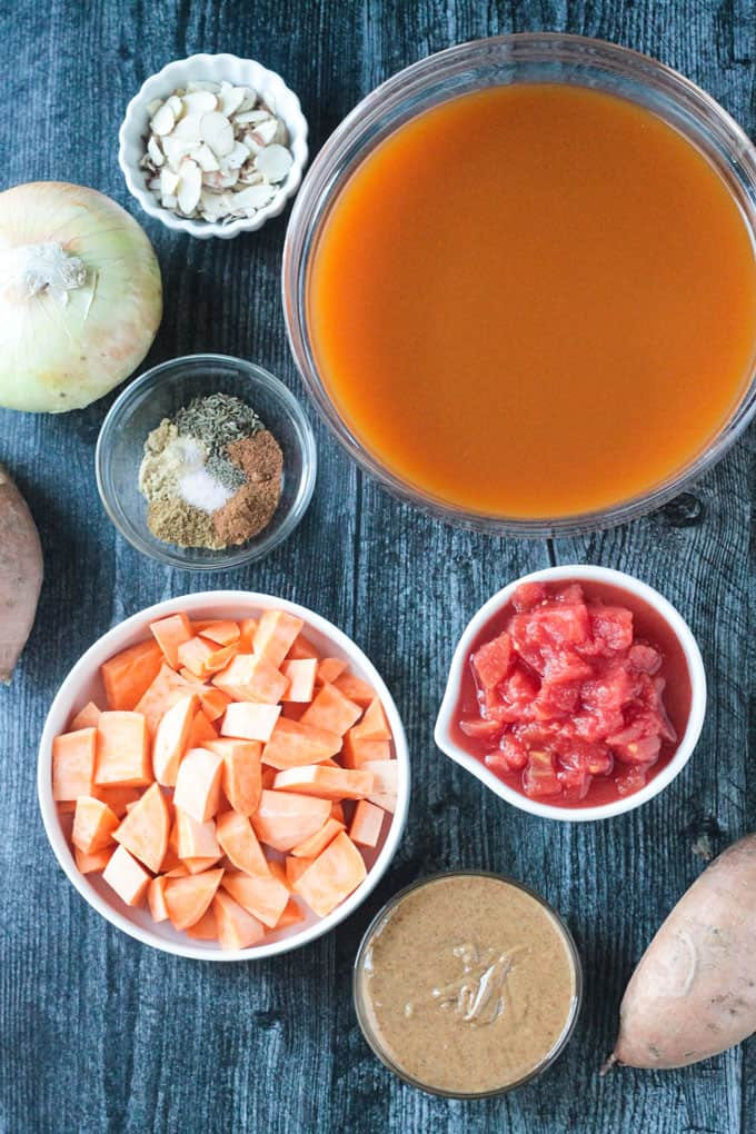 Individual ingredients needed to make this sweet potato soup recipe