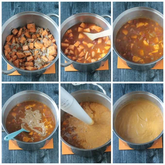 Step by step photos of how to make this sweet potato soup recipe