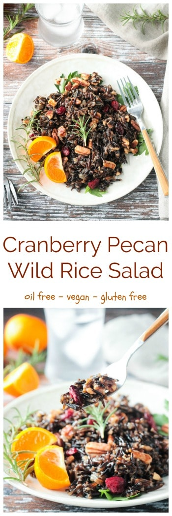 This Cranberry Pecan Wild Rice Salad would be the perfect side dish for your holiday table. Wild rice is high in protein (a complete protein!), nutty in flavor and has a nice chewy bite. Paired with the sweet tangy cranberries and buttery pecans, this dish is a flavorful winning combo. Try it for a light, but filling, lunch anytime of the year too! #vegan #glutenfree #sidedish #wildrice #oilfree #holiday #thanksgiving #christmas #salad #cranberries #pecans