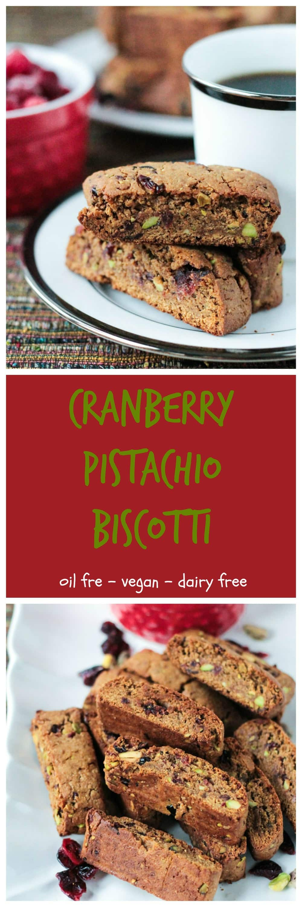 Whole Wheat Cranberry Pistachio Vegan Biscotti - This recipe is so easy! A festive vegan biscotti with NO oil, NO butter, NO dairy, NO refined sugar...only good for you ingredients so you won't feel guilty reaching for more than one! #vegan #cranberries #holiday #christmas #biscotti #cookies #pistachios #easy #dairyfree #oilfree