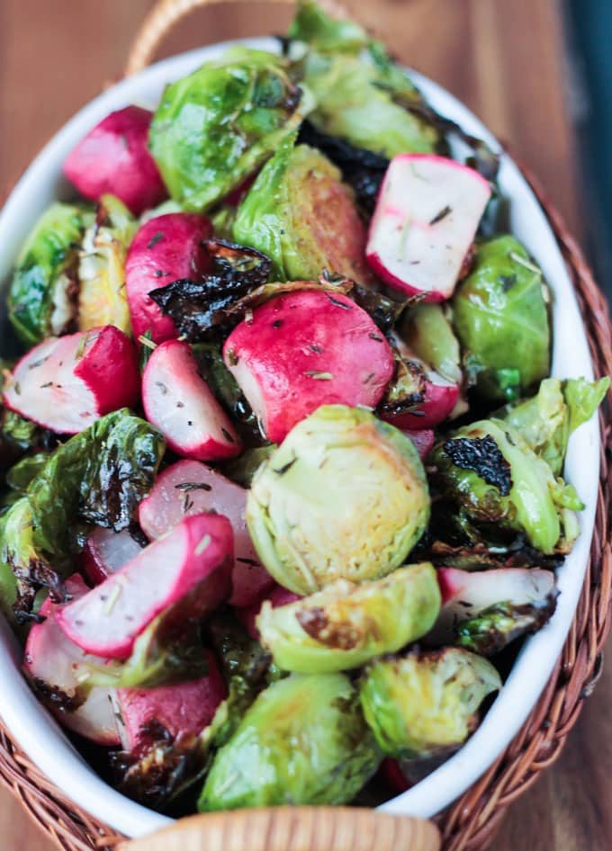 Up close overhead view of Roasted Radish and Brussels Sprouts Salad