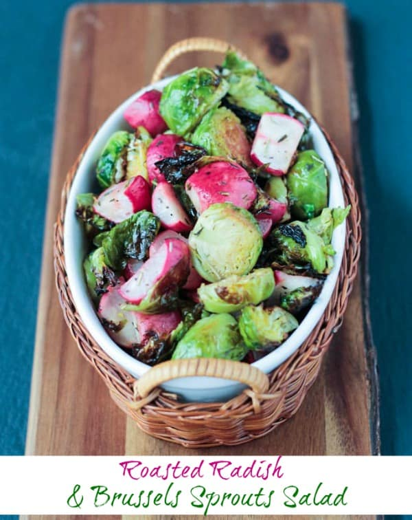 Roasted Radish and Brussels Sprouts Salad - an easy, tasty side dish for any day, but especially beautiful on a holiday table at Thanksgiving or Christmas. Roasting gives these vegetables a lovely caramelization and really mellows out the flavor of the radishes. #vegan #sidedish #glutenfree #brusselssprouts #radishes #thanksgiving #christmas