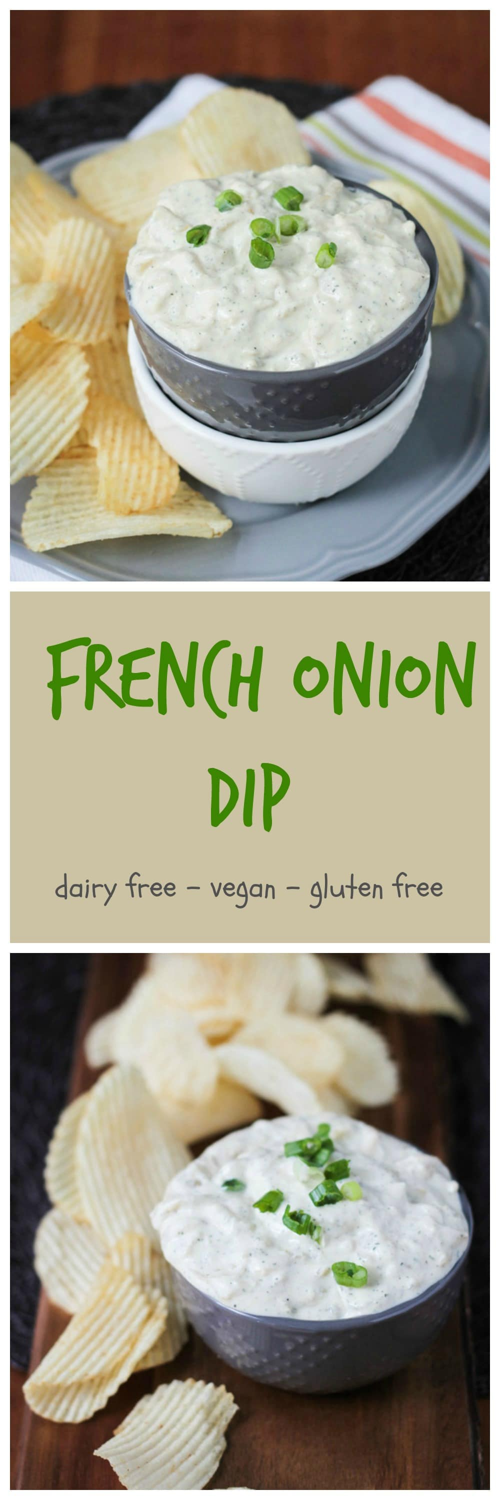 Vegan French Onion Dip with Dill - a combo of my new favorite dips - french onion dip and dill dip. It's creamy and tangy and contains 2 whole onions! It the perfect pairing with potato chips, raw veggies, pita chips or crackers...or even spread on a sandwich or in a wrap! Cure your munchies with this vegan french onion dip with dill! #vegan #dip #appetizer #partyfood #frenchonion #dairyfree #oilfree #wholefoods #plantbased #snack