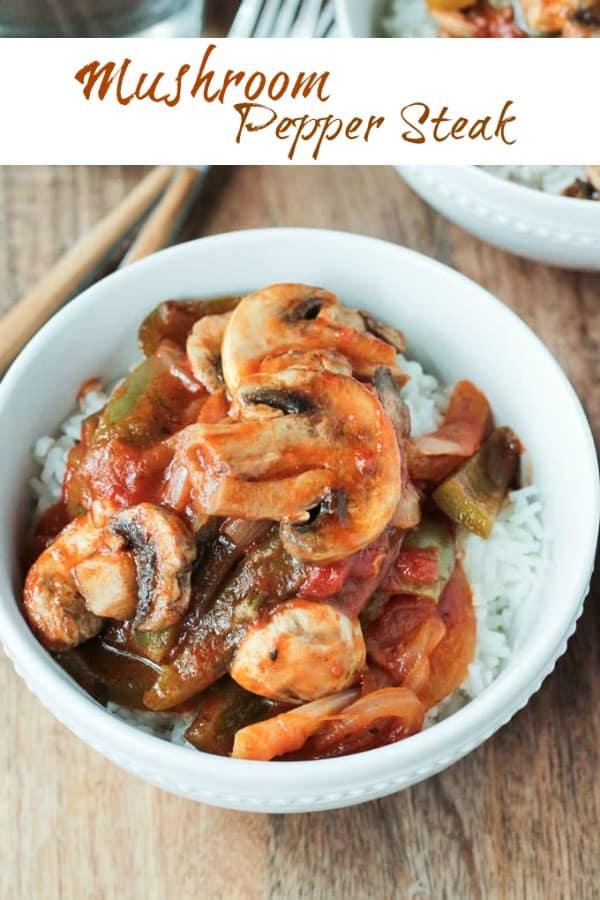 Vegan Mushroom Pepper Steak with rice - a vegan version of this classic comfort food dinner.