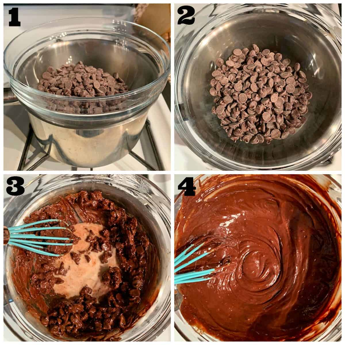 4 photo collage of setting up a double boiler and melting chocolate.