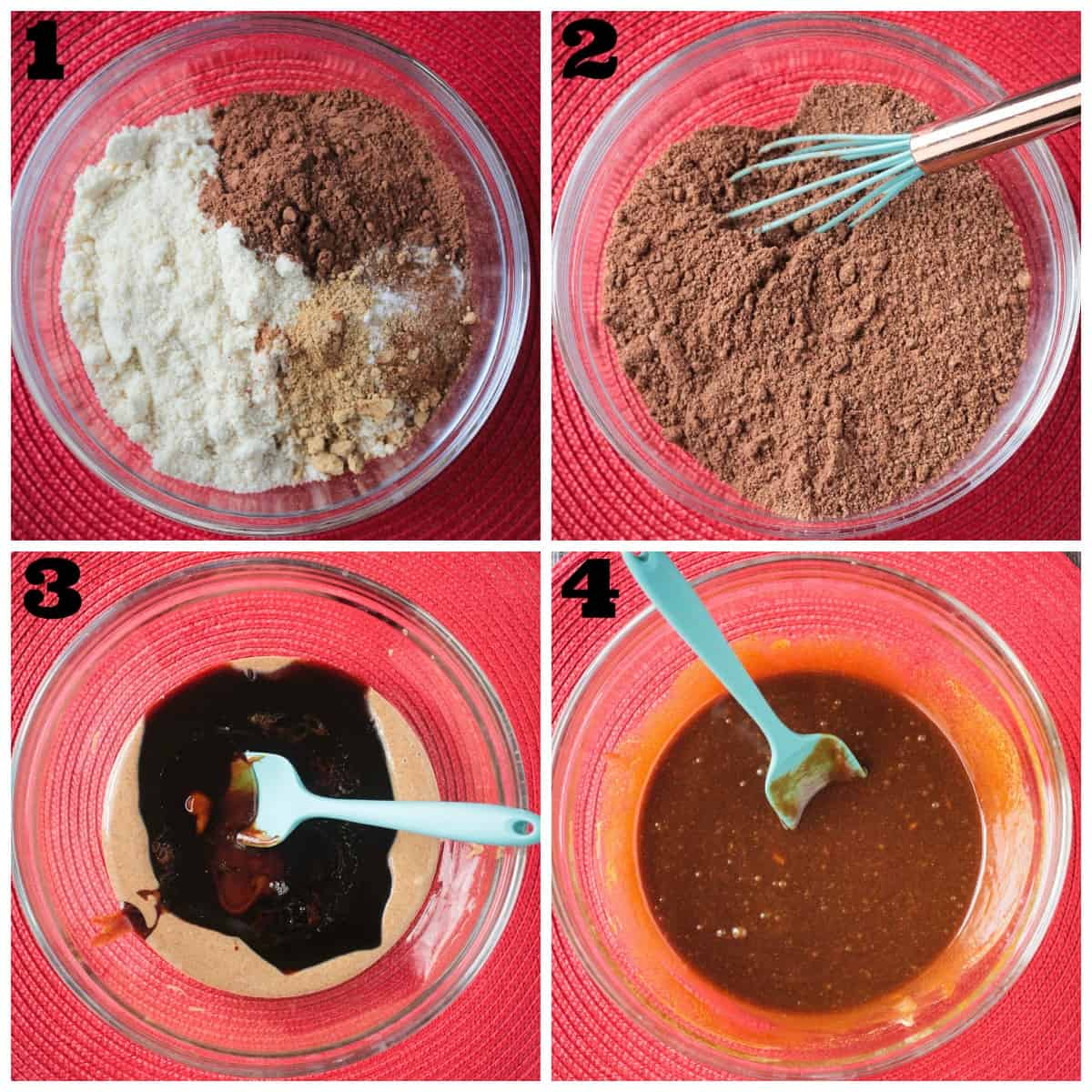 4 photo collage of whisking dry ingredients and whisking wet ingredients.