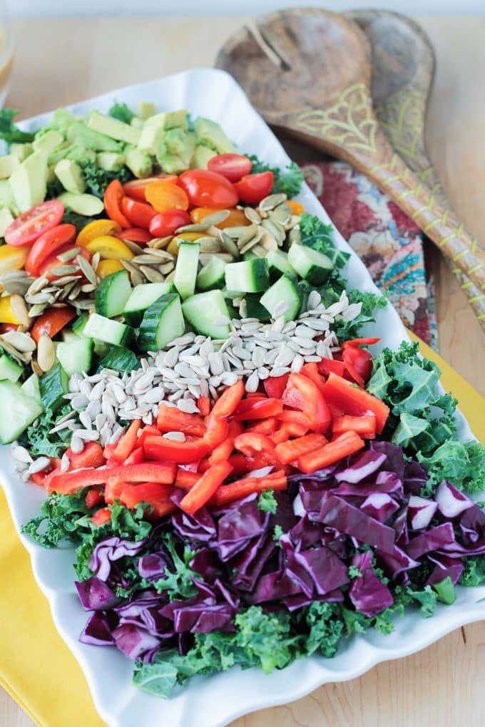 Cucumber Chickpea Salad w/ Tahini Dressing ~ Veggie Inspired