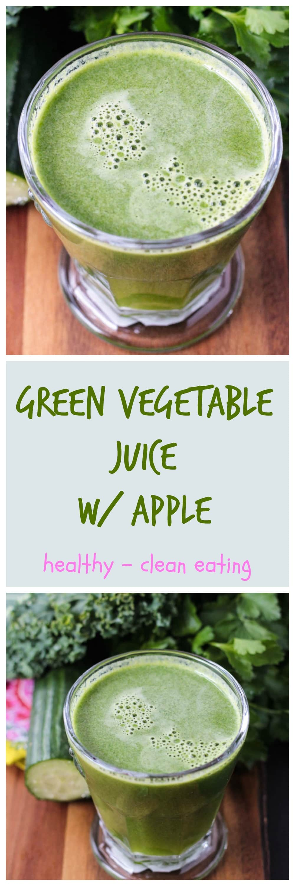 Green Vegetable Juice w/ Apple - healthy green juice sweetened with apple that you will actually enjoy drinking! The flavors are balanced perfectly and this juice is mild enough for even those who are new to juicing. Kids will even love this green vegetable juice!