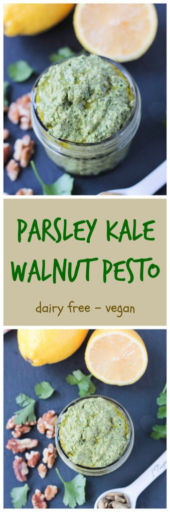 Parsley Kale Walnut Pesto - This pesto is perfect for the winter months when really good fresh basil is hard to come by. Bright and lemony parsley balances out the hearty kale perfectly. Try this as a sauce for pasta, stir it into soup, spread it on a sandwich, dollop it on a baked potato, or use it as a dip for raw veggies or crackers.