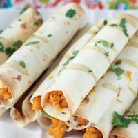 Buffalo Chickpea & Artichoke Vegan Taquitos Recipe