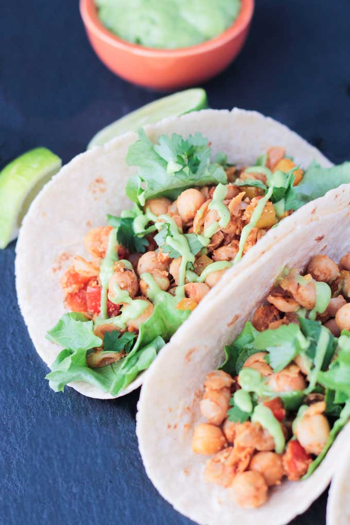 15 Minute Bell Pepper & Chickpea Tacos