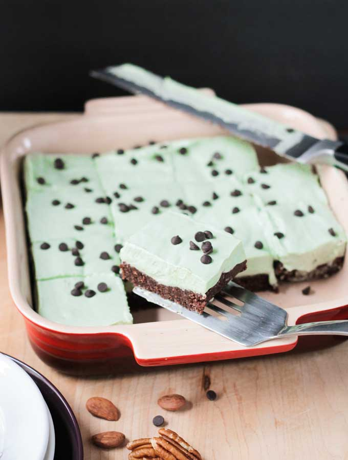 Mint Cream Icebox Dessert w/ Raw Brownie Crust