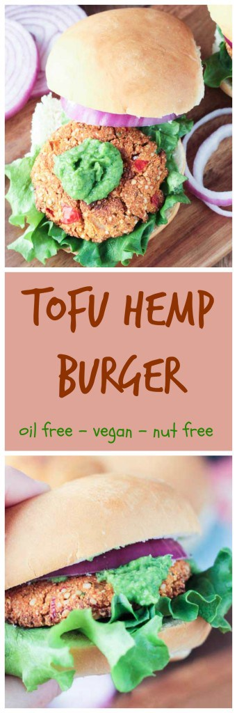 "Tofu Hemp Burger - a firm and ""meaty"" burger that won't fall apart when you take a bite! Load it up with your favorite toppings or try it with my Herbed White Bean Spread (recipe also listed here!)."