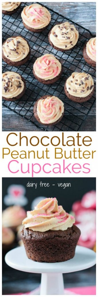 Chocolate Peanut Butter Cupcakes - Chocolate and Peanut Butter is the classic combination for love! Woo your Valentine with these delicious dairy free sweet treats! And don't forget the light and fluffy vegan peanut butter frosting! I dare you not to eat it straight from the bowl. #vegan #dairyfree #valentinesday #cupcakes #dessert #holiday #peanutbutter #chocolate #easy #kidfriendly #sweets