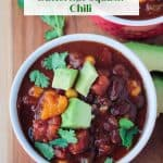 Bowl of crock pot vegan chili with black beans and butternut squash.