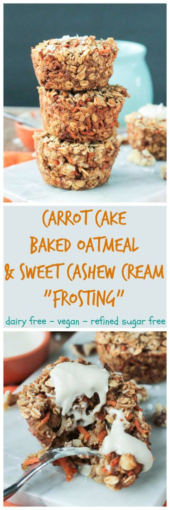 Carrot Cake Baked Oatmeal - sweet, moist and loaded with veggies. This carrot cake baked oatmeal is worthy of dessert, but healthy enough for breakfast. An easy portable grab-n-go breakfast or snack!