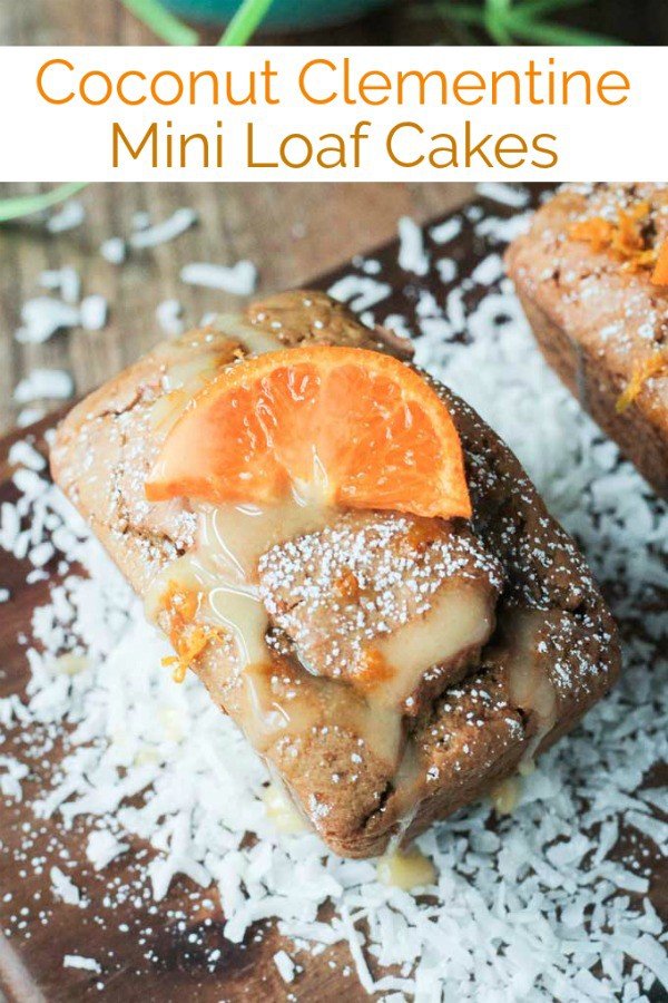 Coconut Clementine Mini Loaf Cakes - fresh, soft and moist, these mini loaf cakes are bursting with citrus and coconut cream. For ultimate flavor, FRESH juice is a must here!! The mini loaf cakes alone are perfect for brunch or snack alongside a cup of coffee or tea. With the optional citrus glaze, they are dolled up and worthy for dessert! Perfect for Easter brunch! #dessert #vegan