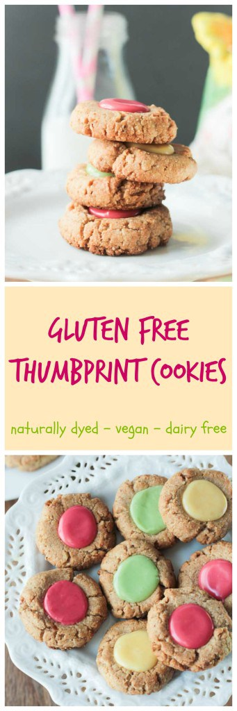 Gluten Free Thumbprint Cookies - Gorgeous pastel thumbprint cookies made with tender gluten free almond flour and naturally dyed icing,. No dairy, no eggs, no gluten! Perfect for Easter or anytime of year!
