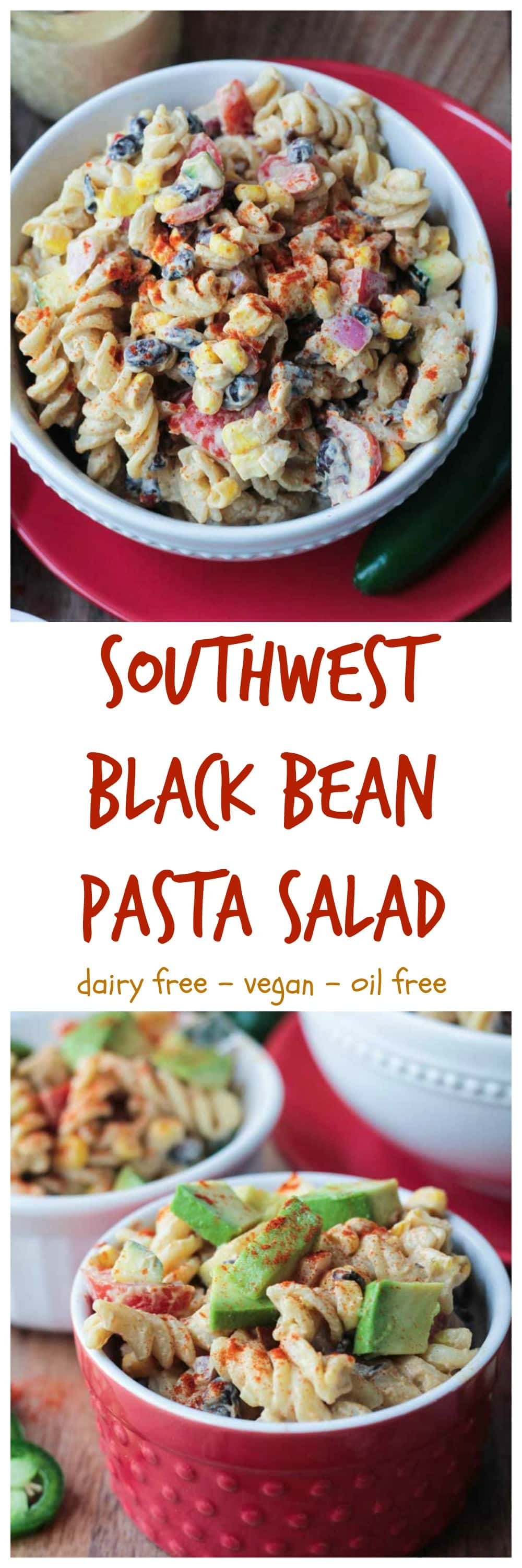 Southwest Black Bean Pasta Salad - vegan | gluten free | dairy free | potluck | feed a crowd | picnic | creamy cumin ranch dressing | meatless | vegetarian