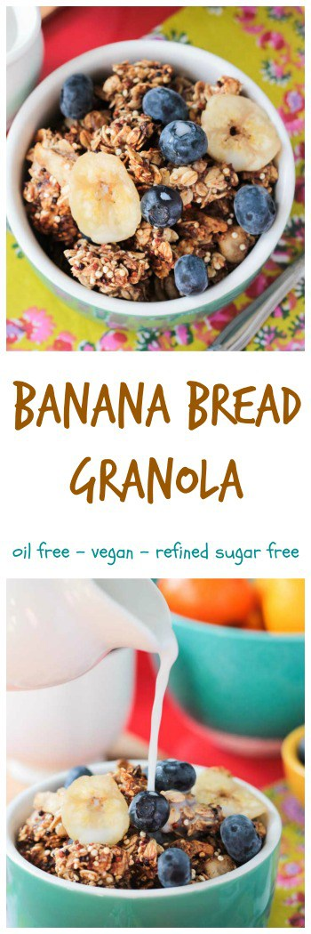Banana Bread Granola - Easy homemade banana bread granola. Perfect for breakfast, snack or anytime in between. Drizzle in some plant milk or use it top off some dairy free yogurt. Load it up with fresh fruit for a nice contrast of textures. #vegan #glutenfree #granola #breakfast #snack