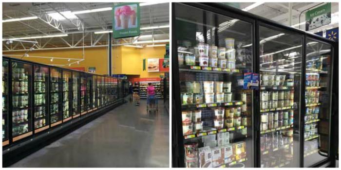 Freezer cases at Walmart where the So Delicious Non Dairy Frozen Desserts are found.