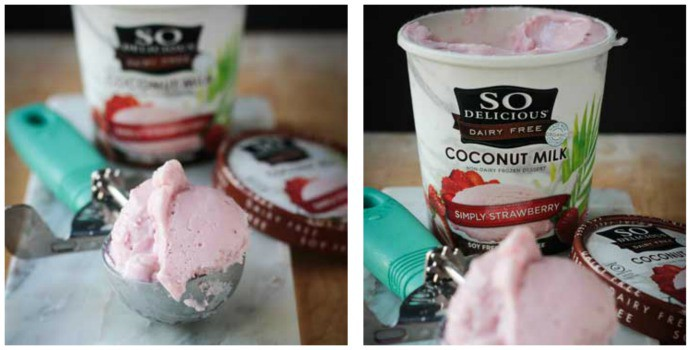 Scoop of So Delicious Coconut Milk Strawberry ice cream in an ice cream scoop. Opened pint of the ice cream behind.