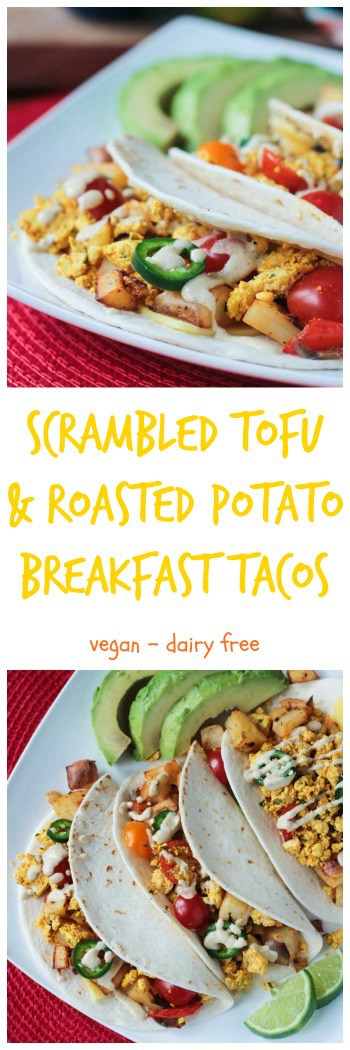 Healthy Breakfast Tacos w/ Scrambled Tofu & Roasted Potatoes. The flavors of the southwest are prominent in these delicious vegan tacos that are suitable for breakfast, lunch or dinner. Top them off with avocado, sliced jalapeño, salsa, and my very favorite Creamy Cumin Dairy Free Ranch Dressing!