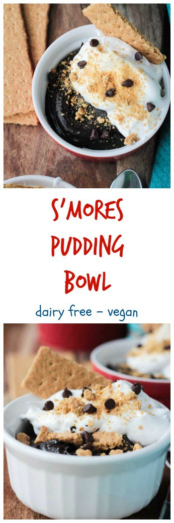 S'mores Pudding Bowl - super creamy, super rich, super easy, super delicious! Amazing s'mores pudding made with NO dairy, NO eggs and NO oil. You gotta taste it to believe it!