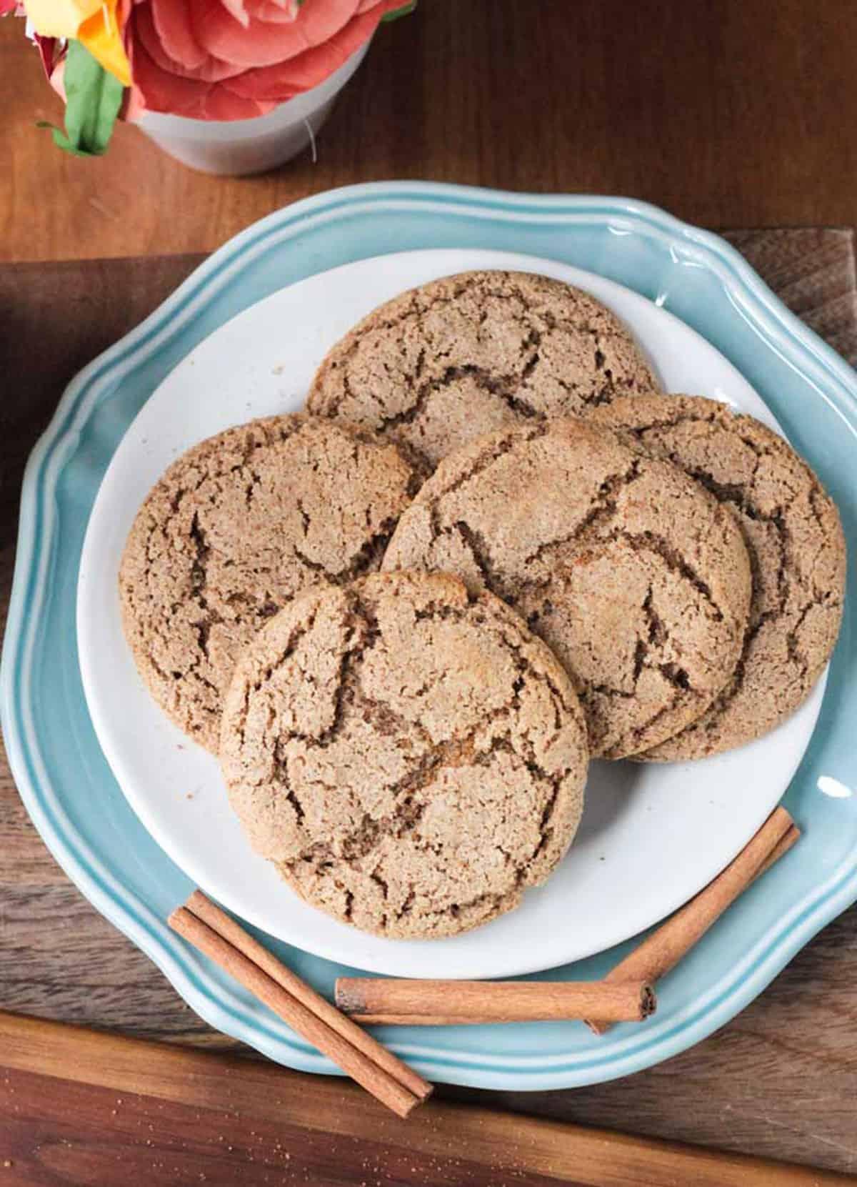 A pile of Vegan Cinnamon Cookies on a plate.