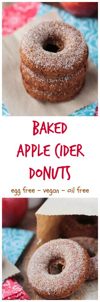 Baked Apple Cider Donuts - soft, fluffy, moist, and full of fall flavor. These taste just like the donuts that are made fresh at the apple orchards!! BUT, these contain no oil, no dairy, and no eggs! You are going to LOVE these! #vegan #donuts #doughnuts #dairyfree #oilfree #autumn #fall #halloween #thanksgiving #apple