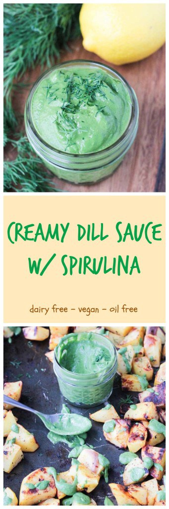 Creamy Dill Sauce w/ Spirulina - super creamy with avocado and fresh herbs and supercharged with spirulina to boost your health. You'll want to put this sauce on everything!