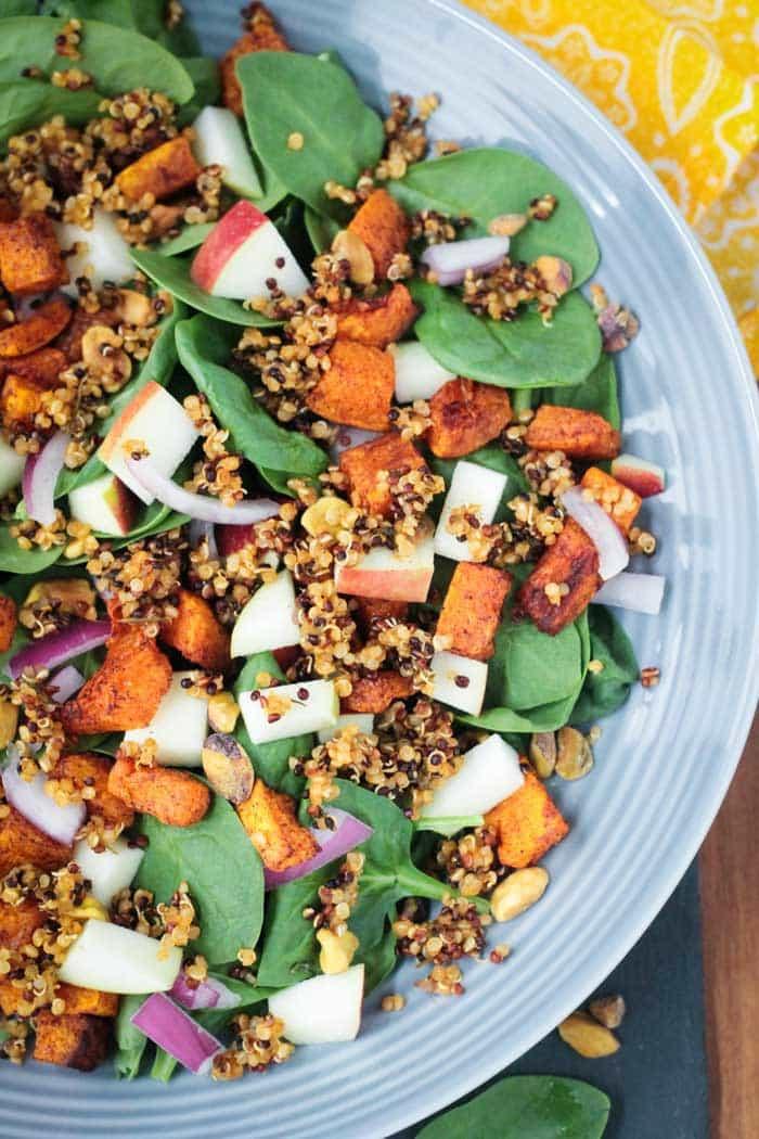 Quinoa Spinach Salad w/ Butternut Squash & Apple