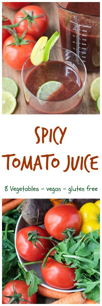 Spicy Tomato Juice - easy to make at home and YOU control the ingredients! No salt, no sugar, and you can make it as spicy or mild as you like. I've never liked tomato juice until this recipe!! Try it for yourself!