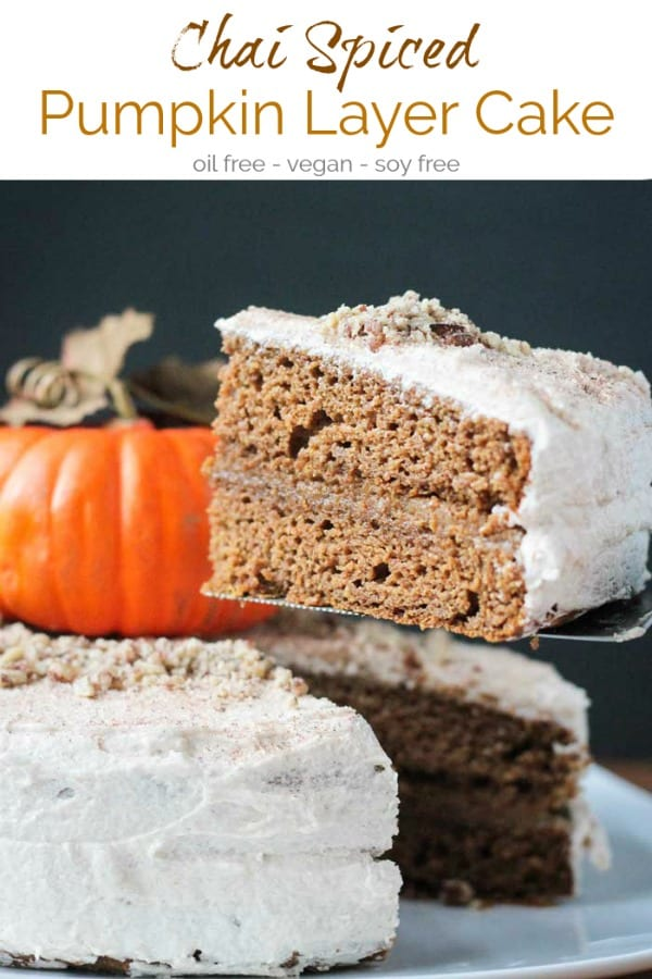 Pumpkin Layer Cake with chai spices, a thin layer of pumpkin cashew filling, and topped off with creamy dairy free cinnamon buttercream frosting. You will love this soft, moist vegan cake. Perfect for Halloween, Thanksgiving, or any fall entertaining. #vegan #cake #pumpkin #chai #dairyfree #oilfree #autumn #halloween #thanksgiving #dessert
