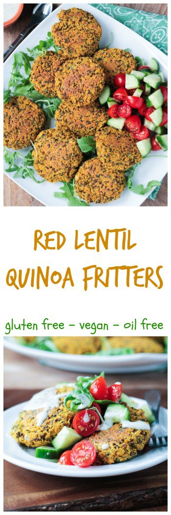 Baked Red Lentil Quinoa Fritters - crispy | oil free | gluten free | turmeric | cumin | Meatless Monday | vegan | plant protein | dairy free