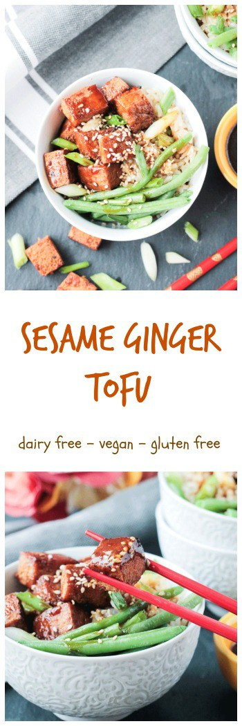 Baked Tofu that has been marinated in a sesame ginger sauce and then drizzled with more of the sauce that's been reduced into a sticky glaze and served over rice with your favorite veggies - a quick, satisfying 30 minute meatless meal! #vegan #glutenfree #dairyfree #tofu #meatless #vegetarian #stirfry